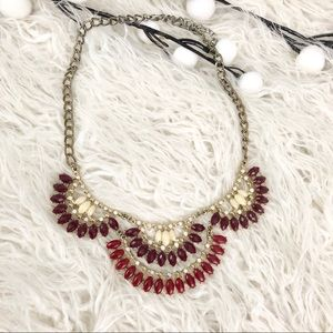 Pink Purple and Gold Layered Statement Necklace
